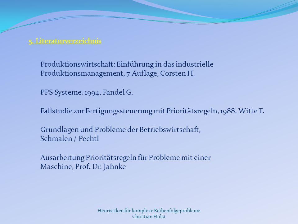 Heuristiken für komplexe Reihenfolgeprobleme Christian Holst Vielen Dank für Ihre Aufmerksamkeit