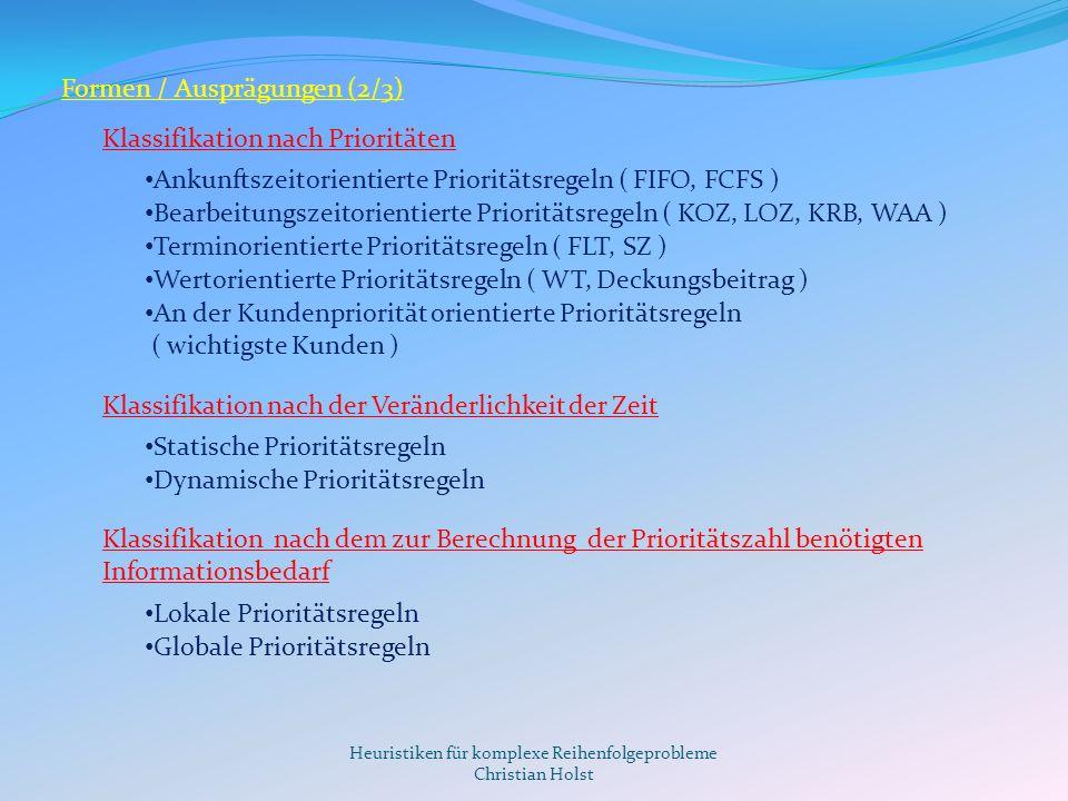 Heuristiken für komplexe Reihenfolgeprobleme Christian Holst Formen / Ausprägungen (3/3) Prioritätsregel KriteriumKOZLOZKRBGRBSZWT Max.