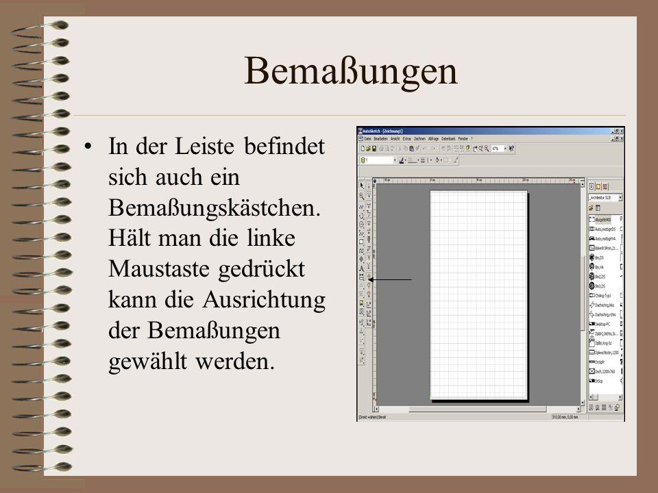 Bemaßungsoptionen Wenn man per Rechtsklick auf die Bemaßung die gewählt wurde klickt, müssen bei dem Maßtext die Ausrichtung die Ausrichtung auf Text oberhalb, die Einheiten auf Millimeter und die Genauigkeit auf 1 gestellt werden.