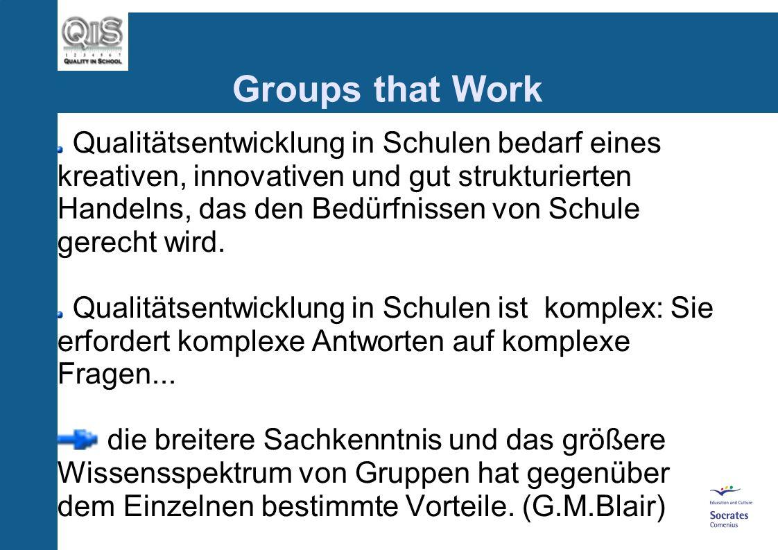 Groups that Work Qualitätsentwicklung in Schulen bedarf eines kreativen, innovativen und gut strukturierten Handelns, das den Bedürfnissen von Schule gerecht wird.