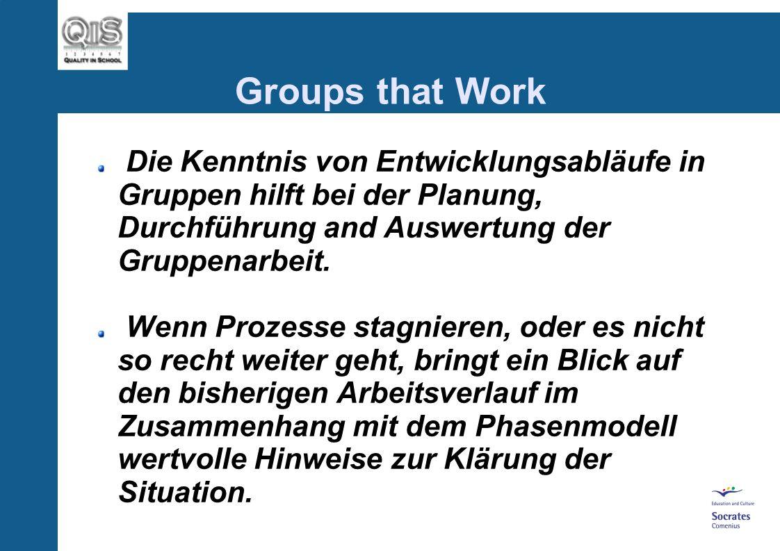 Groups that Work Die Kenntnis von Entwicklungsabläufe in Gruppen hilft bei der Planung, Durchführung and Auswertung der Gruppenarbeit.