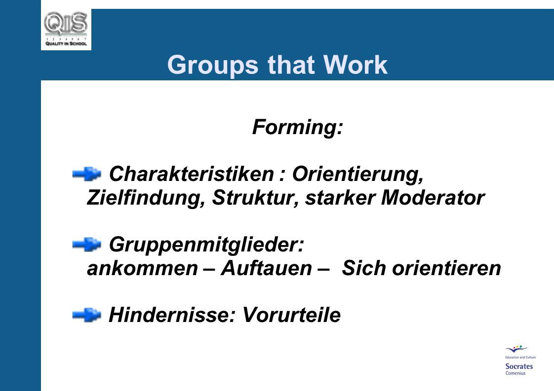 Groups that Work Forming: Charakteristiken : Orientierung, Zielfindung, Struktur, starker Moderator Gruppenmitglieder: ankommen – Auftauen – Sich orientieren Hindernisse: Vorurteile