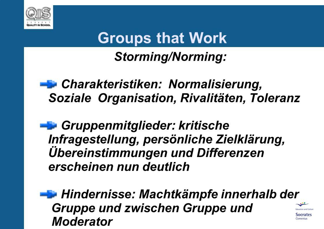 Storming/Norming: Charakteristiken: Normalisierung, Soziale Organisation, Rivalitäten, Toleranz Gruppenmitglieder: kritische Infragestellung, persönliche Zielklärung, Übereinstimmungen und Differenzen erscheinen nun deutlich Hindernisse: Machtkämpfe innerhalb der Gruppe und zwischen Gruppe und Moderator