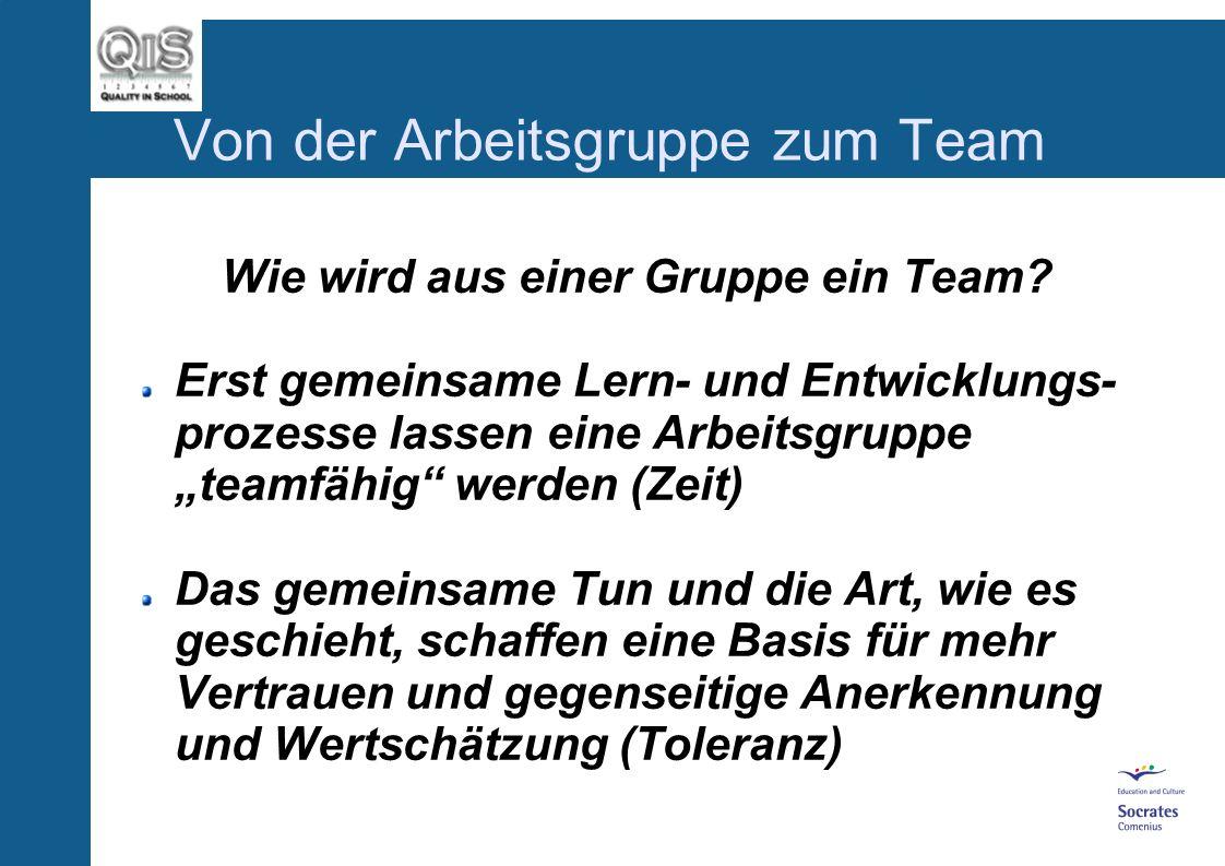 Von der Arbeitsgruppe zum Team Wie wird aus einer Gruppe ein Team.