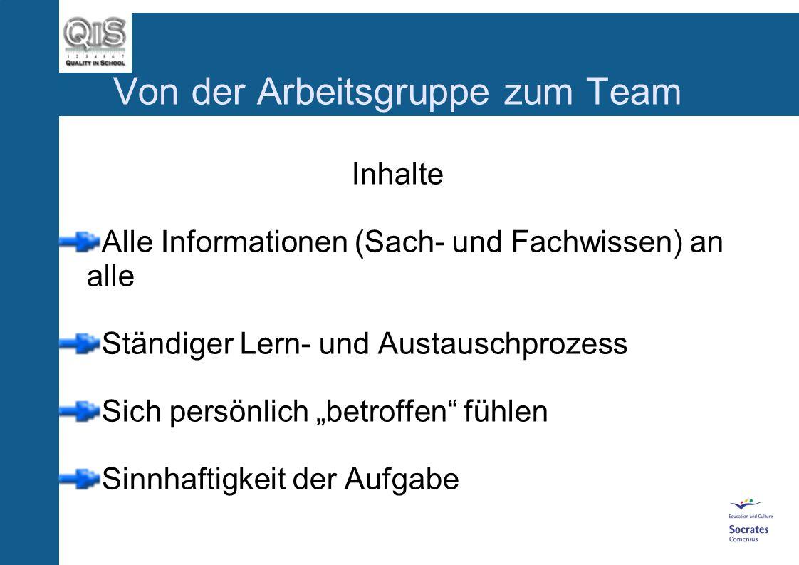 Von der Arbeitsgruppe zum Team Inhalte Alle Informationen (Sach- und Fachwissen) an alle Ständiger Lern- und Austauschprozess Sich persönlich betroffen fühlen Sinnhaftigkeit der Aufgabe