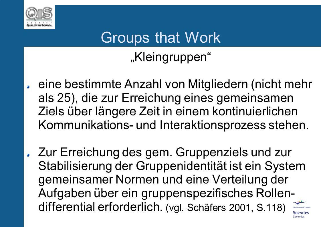 Groups that Work Kleingruppen eine bestimmte Anzahl von Mitgliedern (nicht mehr als 25), die zur Erreichung eines gemeinsamen Ziels über längere Zeit in einem kontinuierlichen Kommunikations- und Interaktionsprozess stehen.
