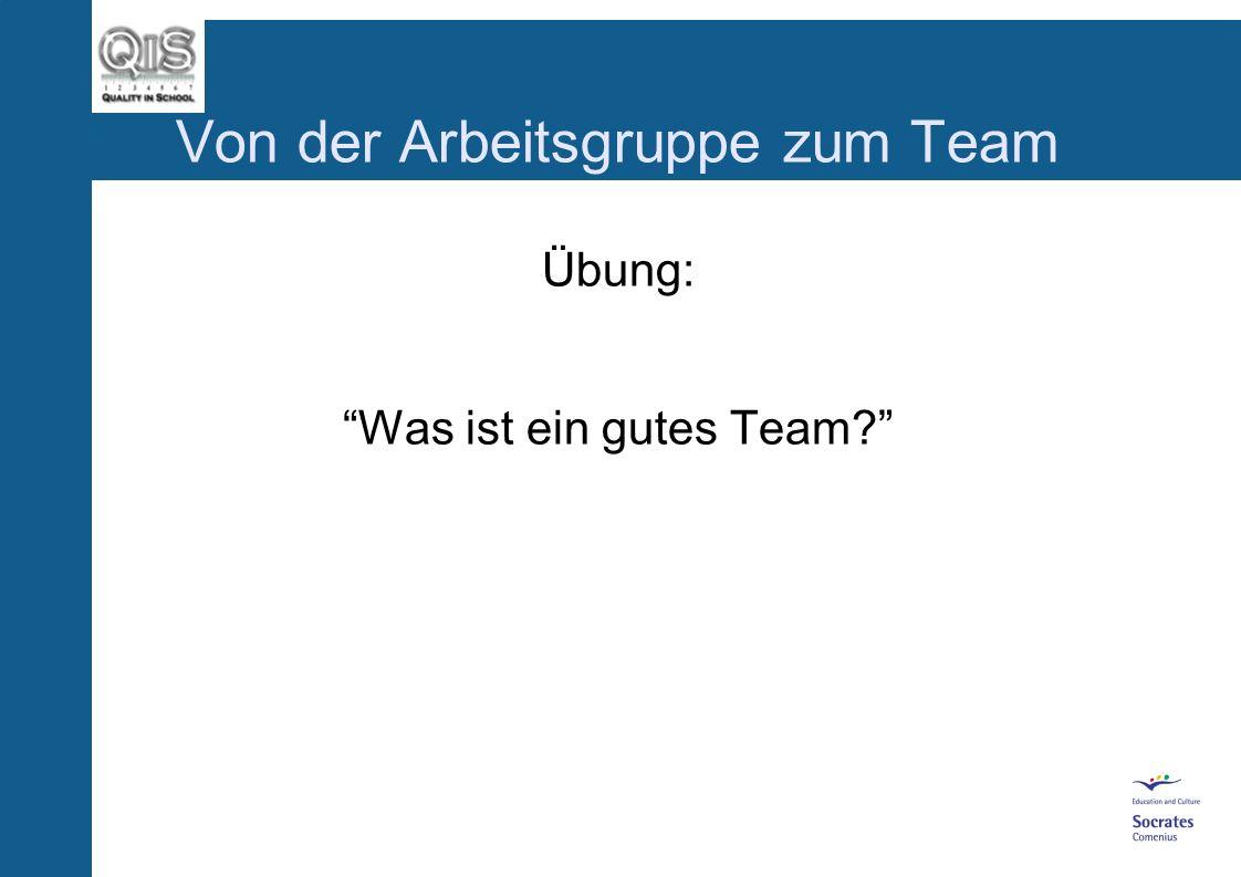 Von der Arbeitsgruppe zum Team Übung: Was ist ein gutes Team?