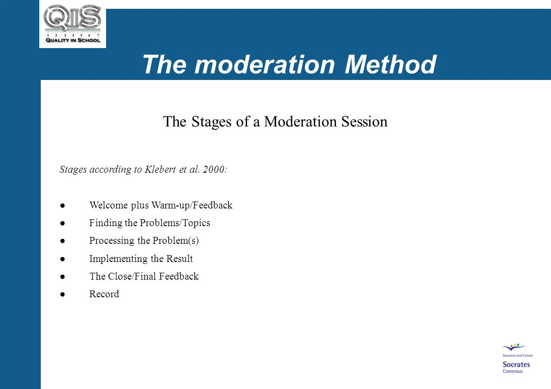 The moderation Method The Stages of a Moderation Session Stages according to Klebert et al.