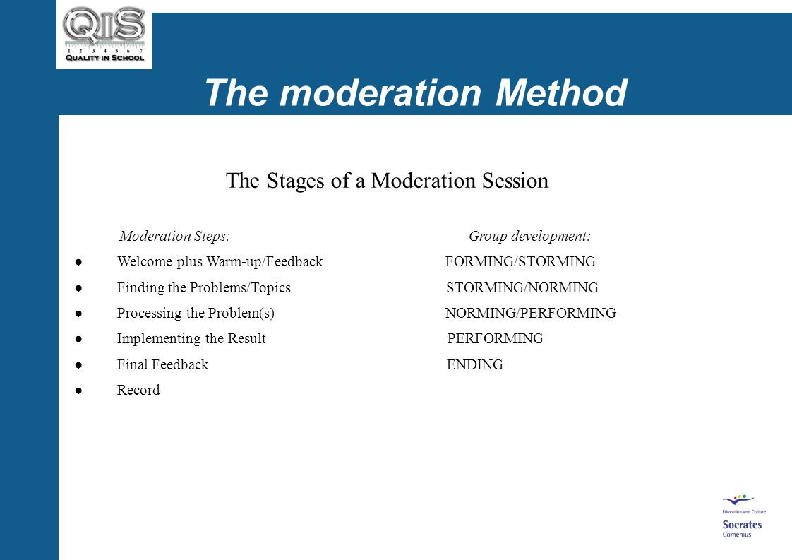 The moderation Method The Stages of a Moderation Session Moderation Steps: Group development: Welcome plus Warm-up/Feedback FORMING/STORMING Finding the Problems/Topics STORMING/NORMING Processing the Problem(s) NORMING/PERFORMING Implementing the Result PERFORMING Final Feedback ENDING Record