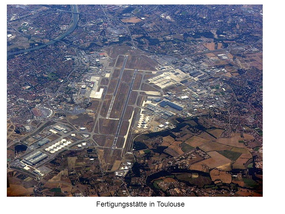 Fertigung und Logistik: innovativ und international Diese Komponenten werden per Schwertransport oder Transportflugzeug, bei Übergrößen auch per Schiff, aus den Standorten nach Toulouse gebracht, wo die Endfertigung erfolgt.