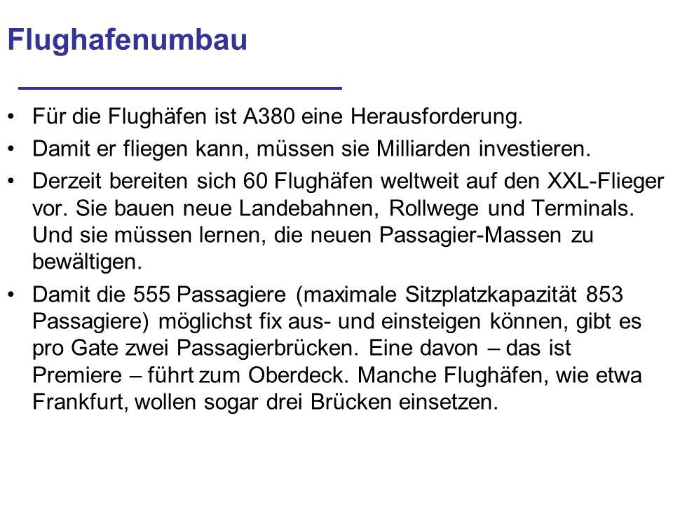 Europäische Flughäfen, wo A380 landen kann München (hat als erster Flughafen in Europa im April 2004 die offizielle Zulassung für den Verkehr mit Luftfahrzeugen vom Typ A380 erhalten) Zürich Frankfurt Hamburg Sankt Petersburg Leipzig/Halle Berlin (Schönefeld) Wien-Schwechat Köln/Bonn