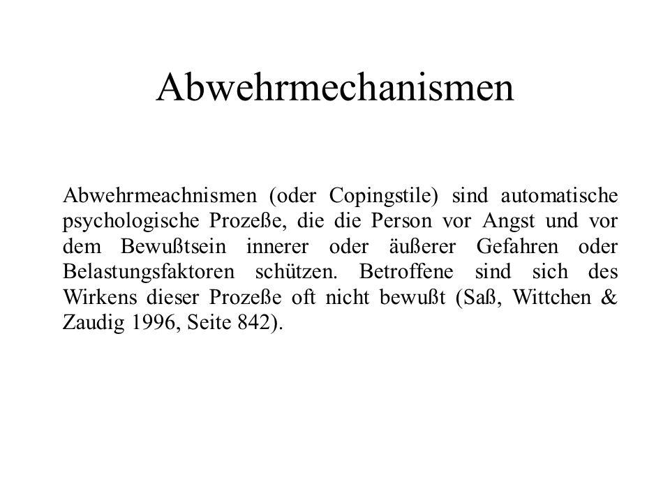 Stufen von Abwehrmechanismen 1 bis 2 1.
