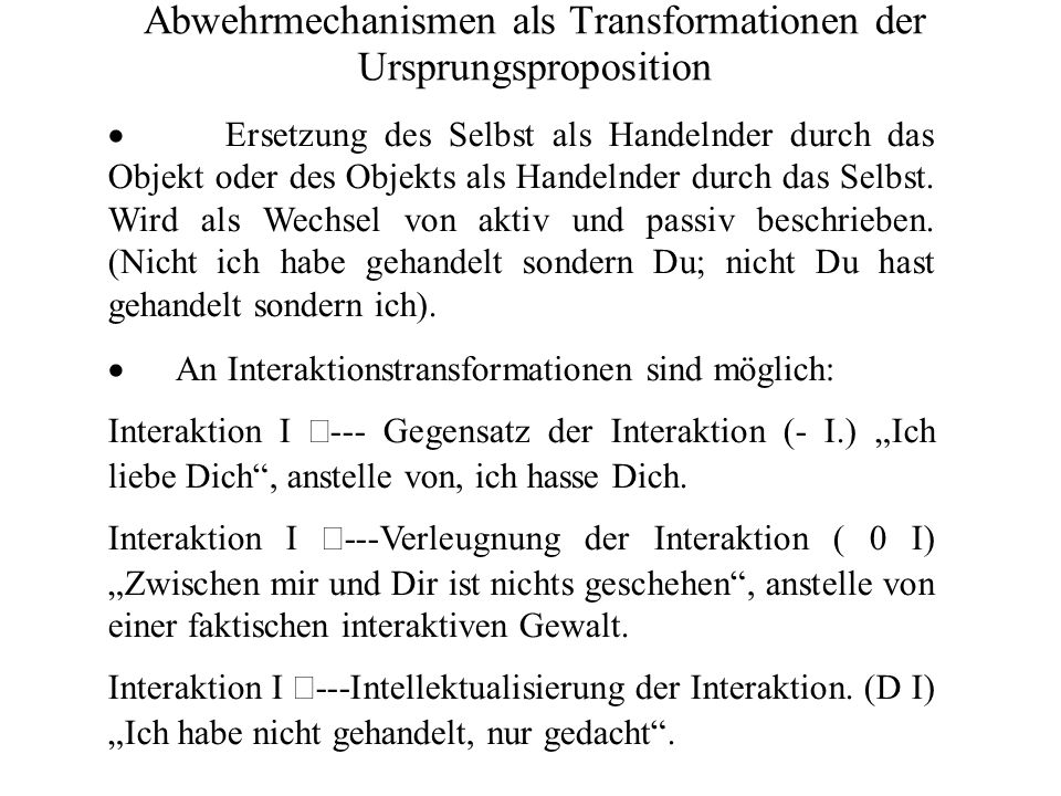 Transformationen am Objekt Ein spezifisches Nichtselbstobjekt x wird durch das Objekt y das ein Selbstobjekt ist ersetzt.