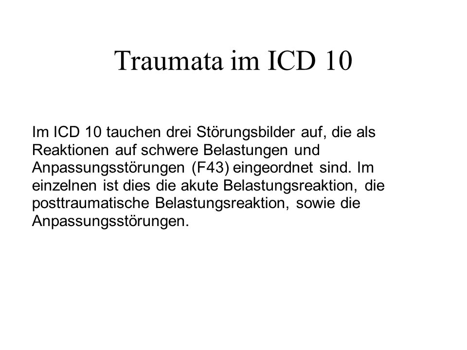 Posttraumatische Störung ICD 10