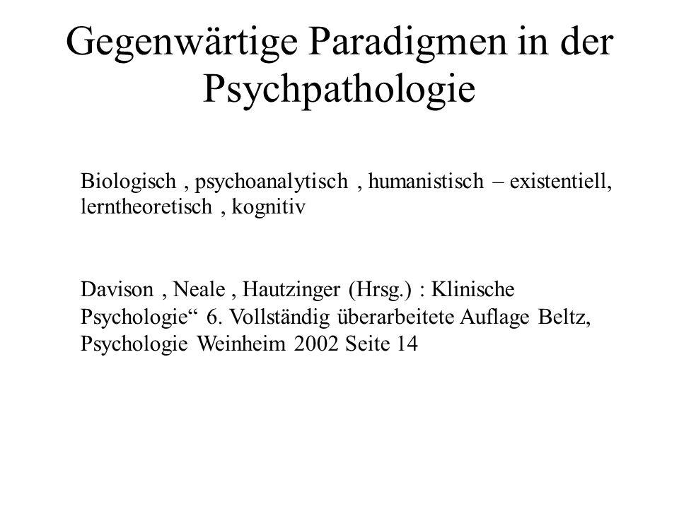 Das biologische Paradigma Das biologische Paradigma geht davon aus, dass psychische Störungen durch biologische Prozesse verursacht werden.