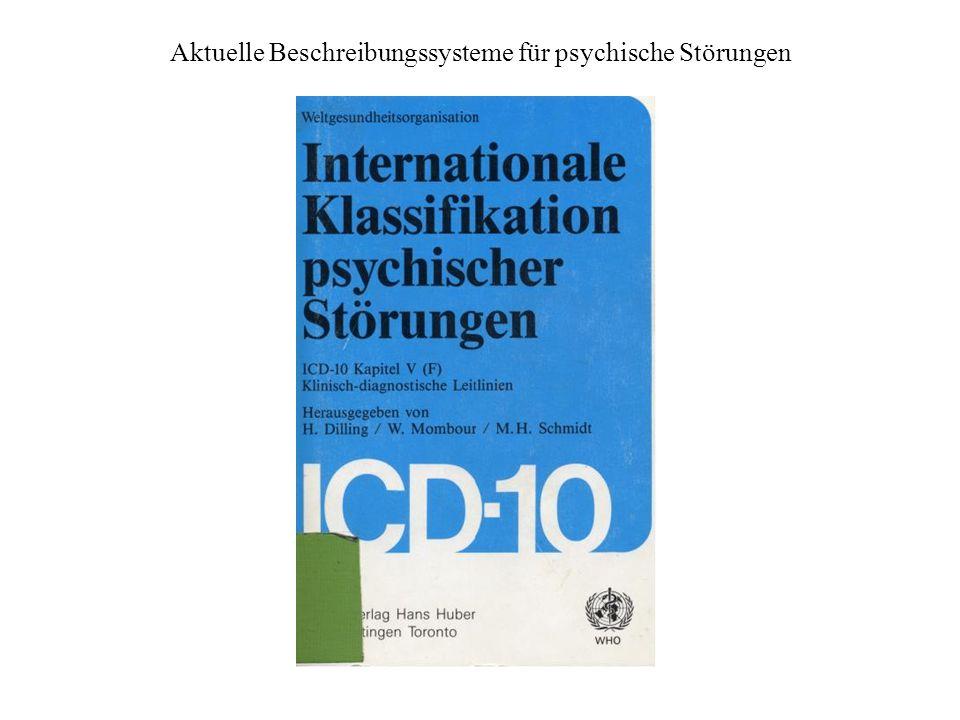 Definitorische Bemühungen des ICD 10 Der Begriff «Störung» (disorder) wird in der gesamten Klassifikation verwendet, um den problematischen Gebrauch von Ausdrücken wie Krankheit oder Erkrankung weitgehend zu vermeiden.