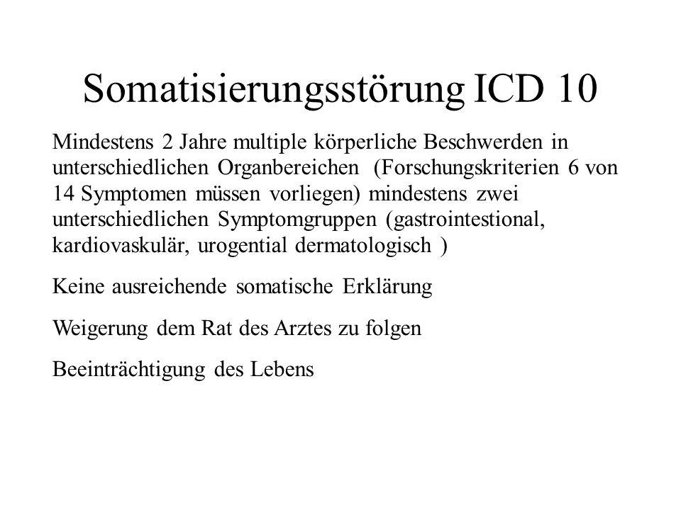 Somatisierungsstörung DSM IV Eine Vorgeschichte mit vielen körperlichen Beschwerden mit Beginn vor dem 30.
