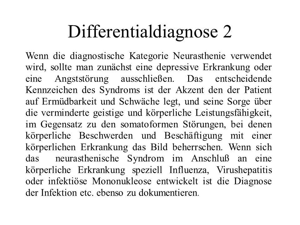 Dazugehöriger Begriff -Erschöpfungssyndrom Ausschluß: - Unwohlsein (R53) - Erschöpfung und Schwäche (R53) - Burn-out-Syndrom (Z73.0) - benigne myalgische Enzephalomyelitis (postvirales Erschöpfungssyndrom (93.3) - Pseudoneurasthenie