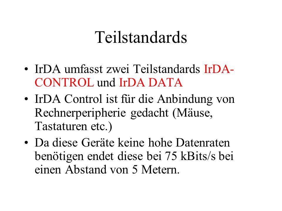 Teilstandards (2) Wenn vom IrDA Standard gesprochen wird ist meist der IrDA-DATA Standard gemeint.