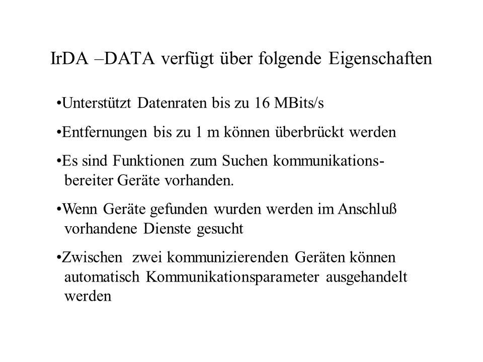 IrDA –DATA verfügt über folgende Eigenschaften Es stehen mehrere zuverlässige logische Kanäle zur Verfügung Nachrichten können unzuverlässig via Broadcast an mehrere Geräte gleichzeitig versendet werden.