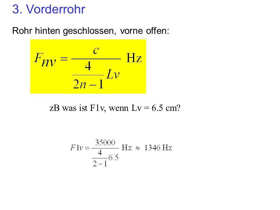 Nomogramm: Alle 3 Röhre zusammen 123456789111315 13.511.59.57.55.53.51.500 0 1000 2000 3000 4000 5000 Lv (cm) Lh (cm) Frequenz (Hz) F1v F2v F3v F1h F2h F3h F HELM Die tatsaechlich vorkommenden Formanten in einem Drei-Rohr- System lassen sich aus den unteren n Formanten von allen Röhren erstellen…