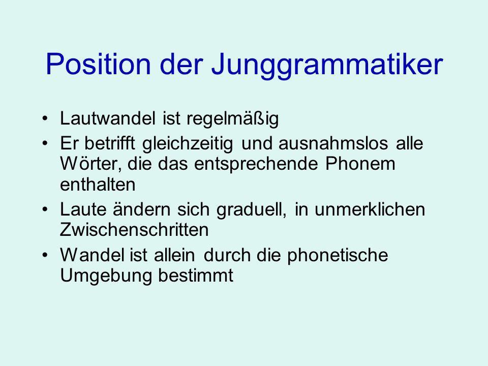 Position der Junggrammatiker...