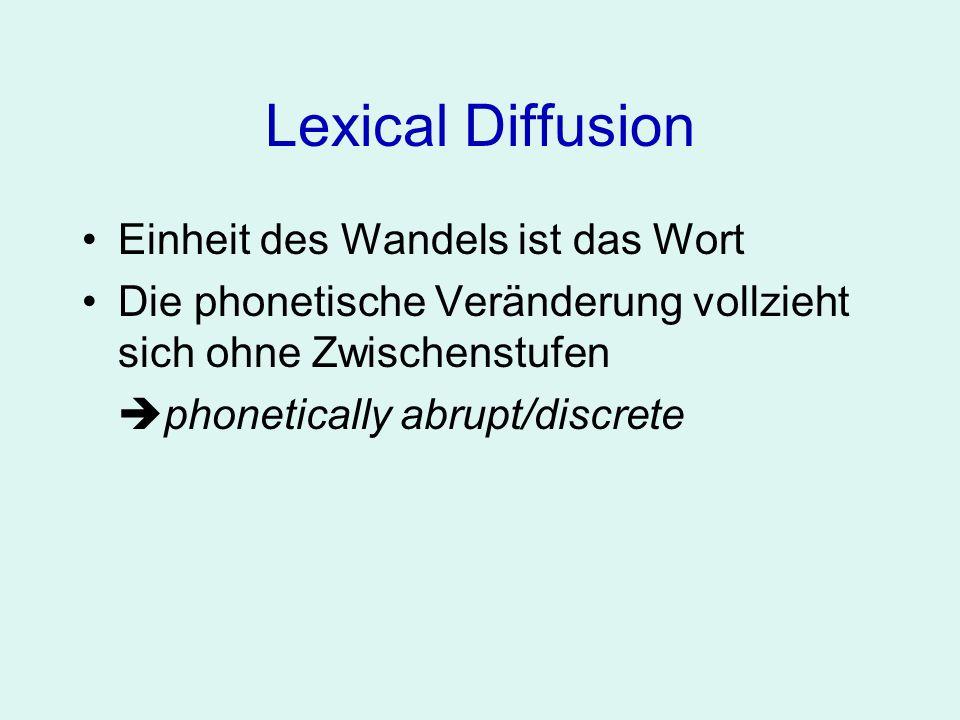 Lexical Diffusion Einheit des Wandels ist das Wort Die phonetische Veränderung vollzieht sich ohne Zwischenstufen phonetically abrupt/discrete Zunächst nur in bestimmten Wörtern, schließlich Verbreitung im Lexikon