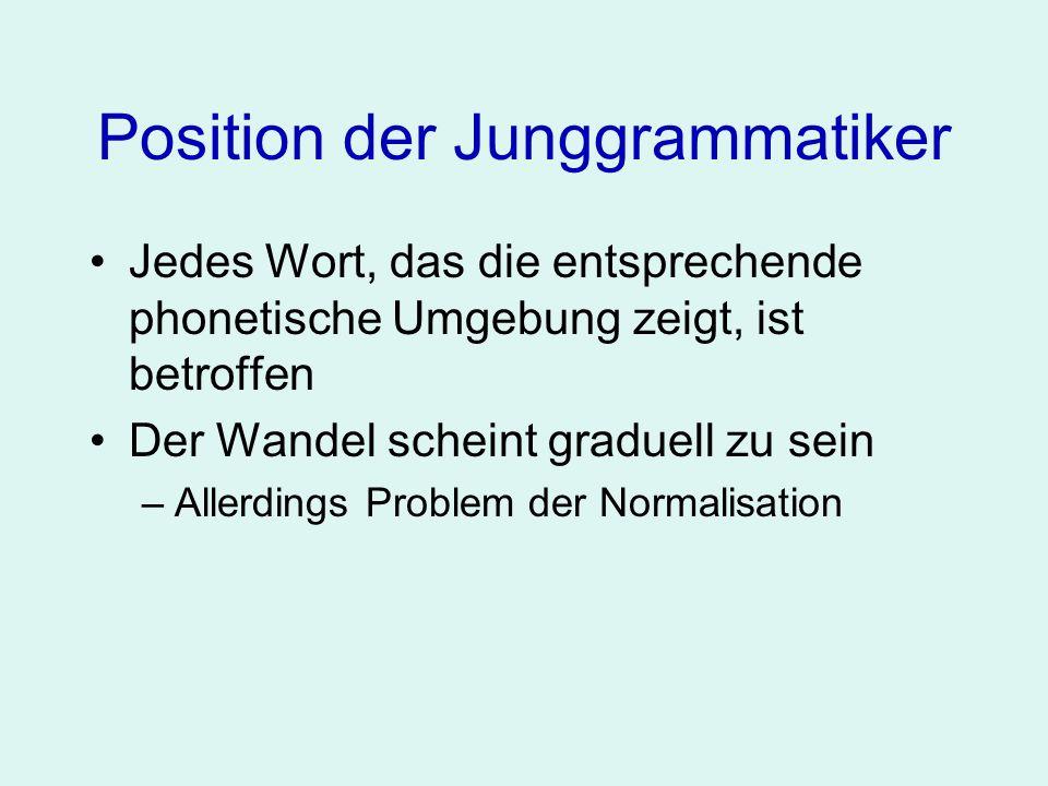 Position der Junggrammatiker Jedes Wort, das die entsprechende phonetische Umgebung zeigt, ist betroffen Der Wandel scheint graduell zu sein Die Bedingungen für den Lautwandel sind rein phonetischer Natur