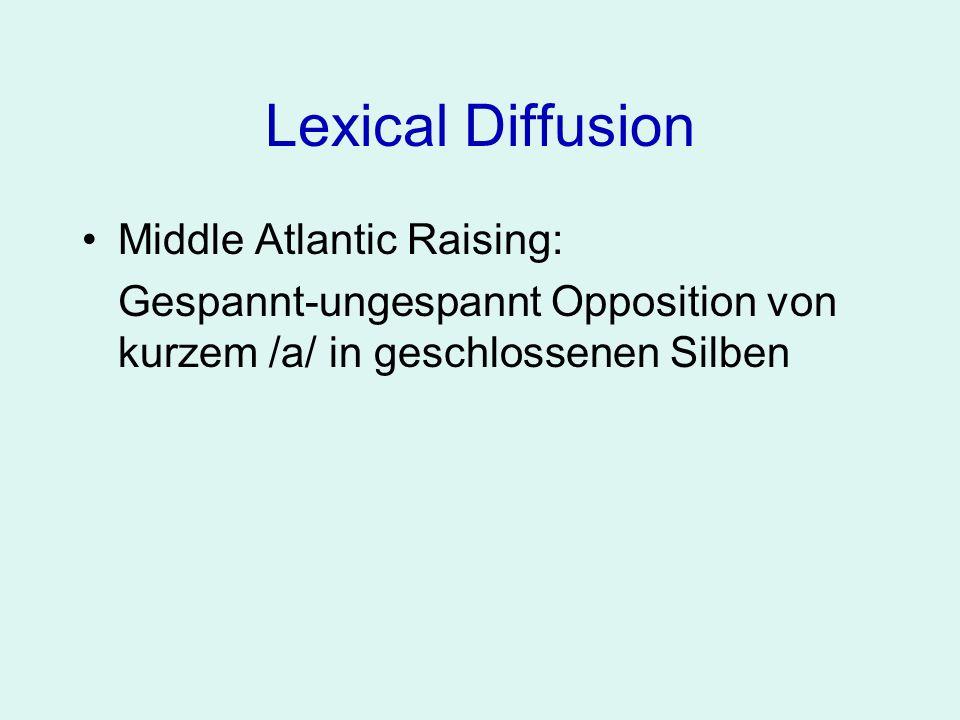 Lexical Diffusion Middle Atlantic Raising: Gespannt-ungespannt Opposition von kurzem /a/ in geschlossenen Silben [a]- [e: ə ]