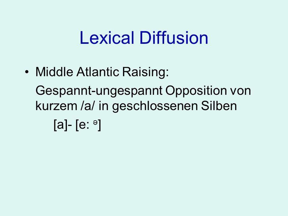 Lexical Diffusion Middle Atlantic Raising: Gespannt-ungespannt Opposition von kurzem /a/ in geschlossenen Silben [a]- [e: ə ] z.B.