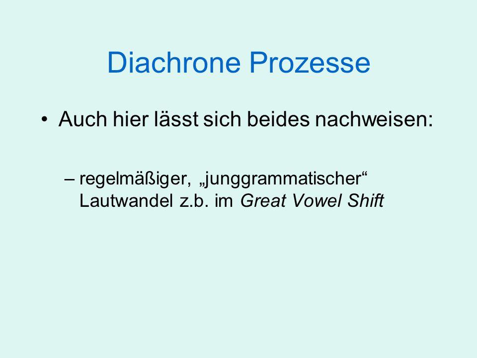 Diachroner Prozesse Auch hier lässt sich beides nachweisen: –regelmäßiger, junggrammatischer Lautwandel z.b.