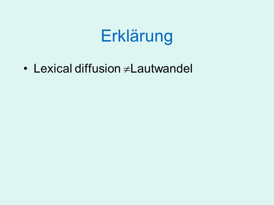 Erklärung Lexical diffusion Lautwandel Der Laut wechselt vielmehr von einer abstrakten Klasse (gespannt) in eine andere (ungespannt)