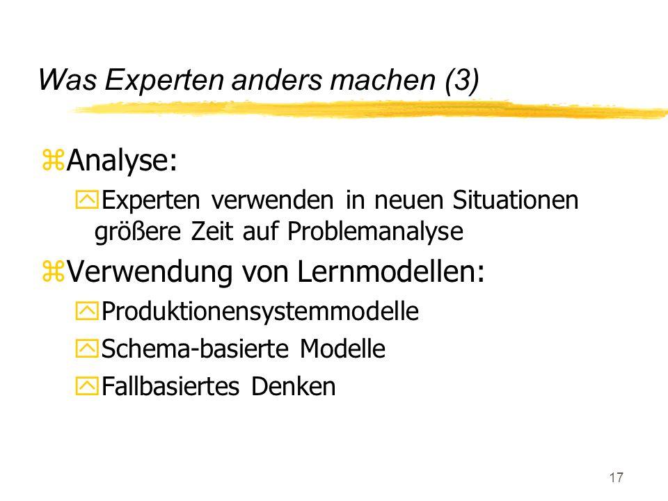 18 Produktionensystemmodell zBereichswissen in Form von elementaren Regeln zProblemlösung = Regelabarbeitung zWiederholte Anwendung der Lösung und Kompilierung zLernschritte: yErwerb (deklarat.) Wissens yKompilierung