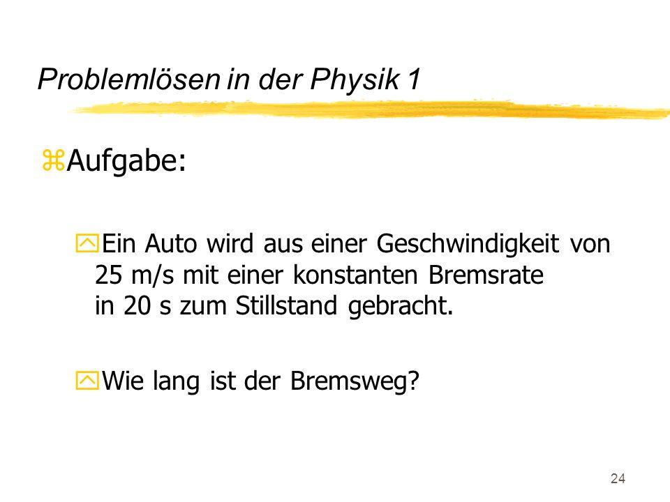 25 Problemlösen in der Physik 2 z(G1) Bremsweg = (Anfangsg.