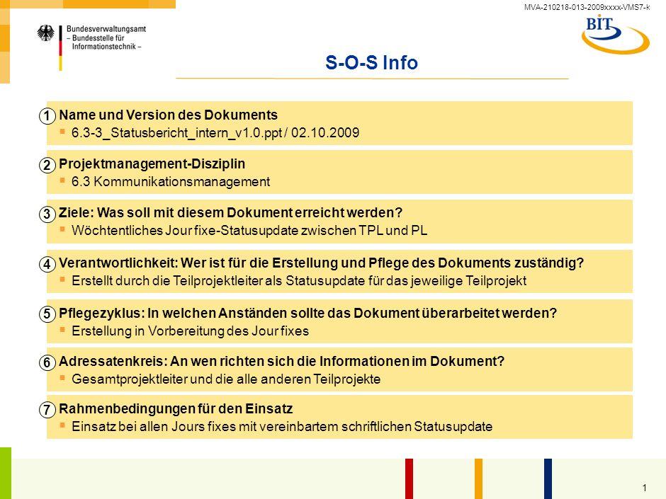 MVA-210218-013-2009xxxx-VMS7-k 1 S-O-S Info Name und Version des Dokuments 6.3-3_Statusbericht_intern_v1.0.ppt / 02.10.2009 1 Projektmanagement-Disziplin 6.3 Kommunikationsmanagement 2 Ziele: Was soll mit diesem Dokument erreicht werden.
