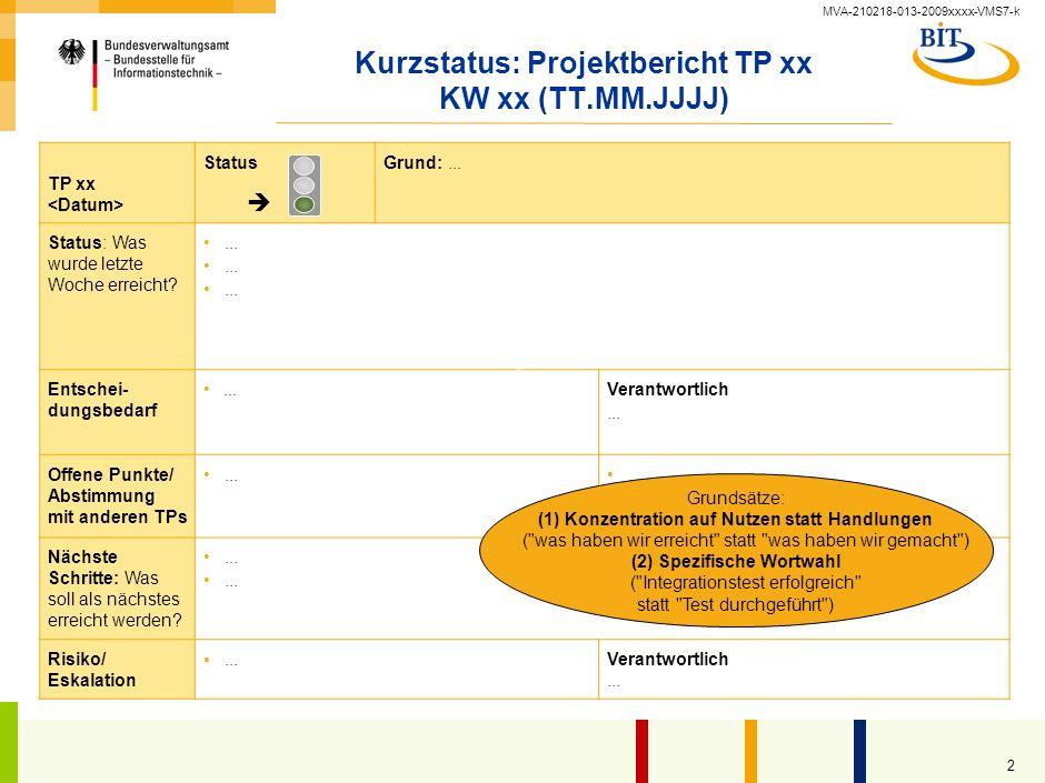 MVA-210218-013-2009xxxx-VMS7-k 2 Kurzstatus: Projektbericht TP xx KW xx (TT.MM.JJJJ) TP xx StatusGrund:...