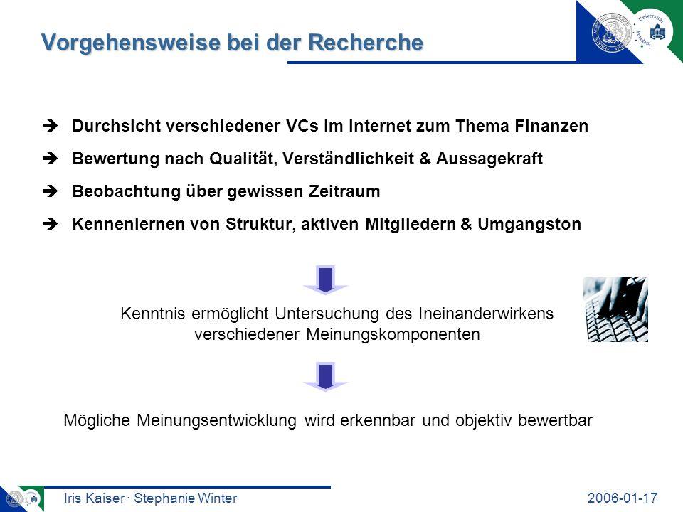 Iris Kaiser · Stephanie Winter2006-01-17 Freie VCs vs.