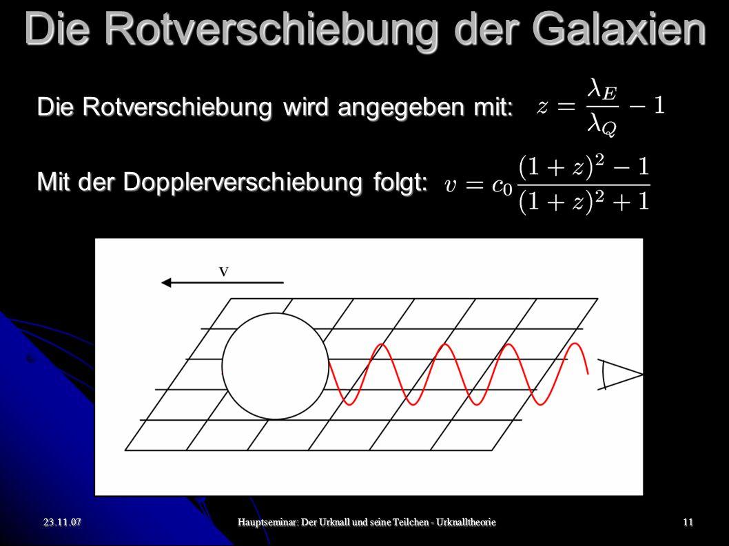 23.11.07Hauptseminar: Der Urknall und seine Teilchen - Urknalltheorie12 Die Rotverschiebung der Galaxien Aber tatsächlich werden Galaxien selbst nicht durch den Raum bewegt (wie es beispielsweise die Erde um die Sonne tut), sondern sie bewegen sich mit der sich ausdehnenden Raum-Zeit (vgl.