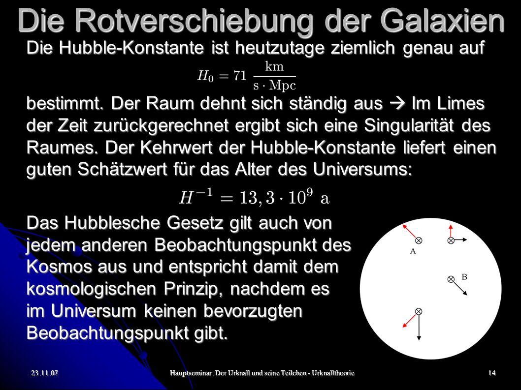 23.11.07Hauptseminar: Der Urknall und seine Teilchen - Urknalltheorie15 Kosmische Hintergrundstrahlung Wenn das Universum zu einem Anfangszeitraum extrem heiß und dicht war, muss es von Strahlung erfüllt gewesen sein.
