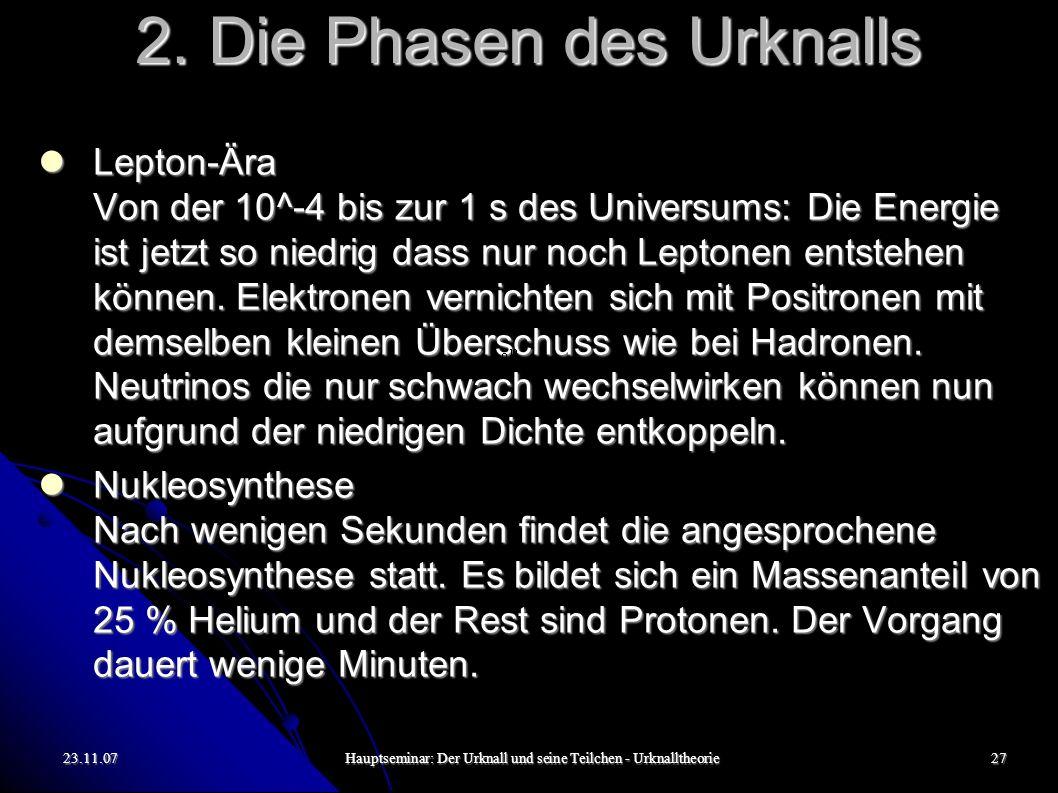 23.11.07Hauptseminar: Der Urknall und seine Teilchen - Urknalltheorie28 2.