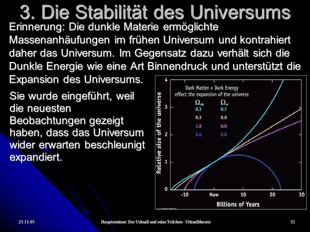 23.11.07Hauptseminar: Der Urknall und seine Teilchen - Urknalltheorie33 Das war s.