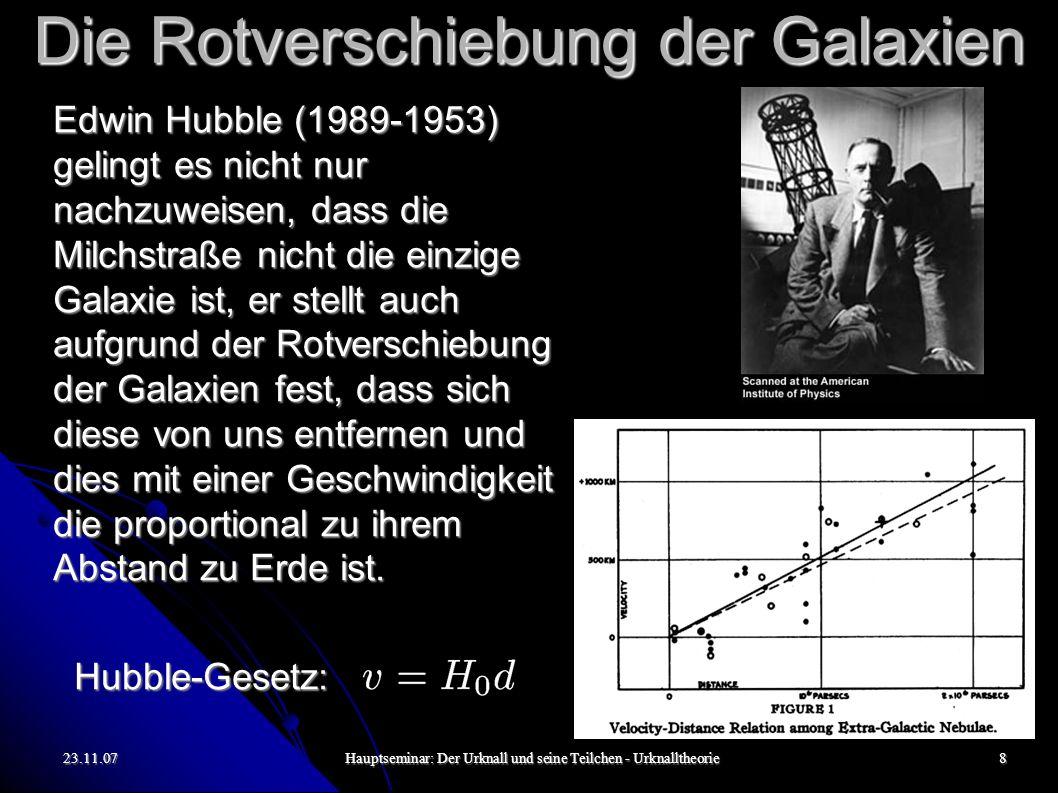 23.11.07Hauptseminar: Der Urknall und seine Teilchen - Urknalltheorie9 Die Rotverschiebung der Galaxien Zum Nachweis des Hubble-Gesetzes und zur präzisen Vermessung der Hubble- Konstante bedarf es der Abstands- und Geschwindigkeitsmessung einer weit entfernten Galaxie.