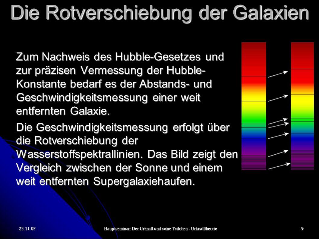 23.11.07Hauptseminar: Der Urknall und seine Teilchen - Urknalltheorie10 Die Rotverschiebung der Galaxien Keine Relativbewegung zwischen Lichtquelle und Beobachter.