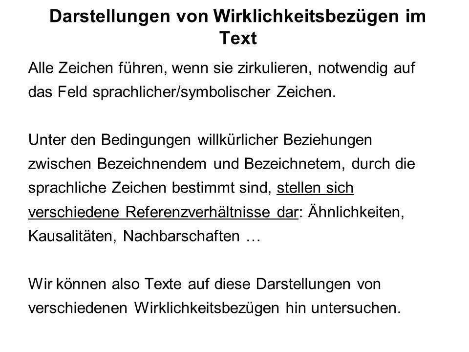 Modellierungen von Referenz (2): Beziehungen zwischen Zeichen Gottfried Keller: Die drei gerechten Kammmacher (1856) In der Stadt Seldwyla konkurrieren die drei Gesellen eines Kammmachers darum, den Betrieb ihres Chefs zu übernehmen: ein Sachse, ein Bayer und ein Schwabe.