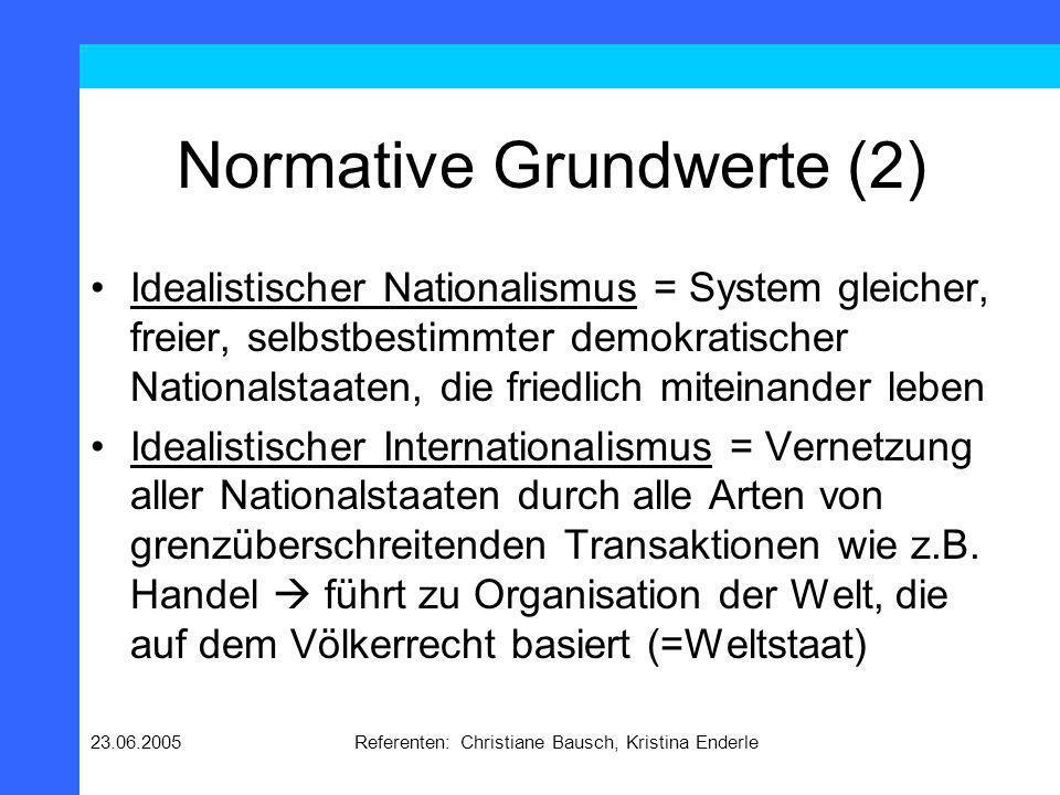 23.06.2005Referenten: Christiane Bausch, Kristina Enderle Ziel des Handelns (1) Das Ziel ist die Verwirklichung von Werten.
