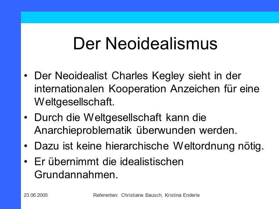 23.06.2005Referenten: Christiane Bausch, Kristina Enderle Der Neoidealismus Die beste Regierungsform ist die Demokratie, da sie pure communication ermöglicht.