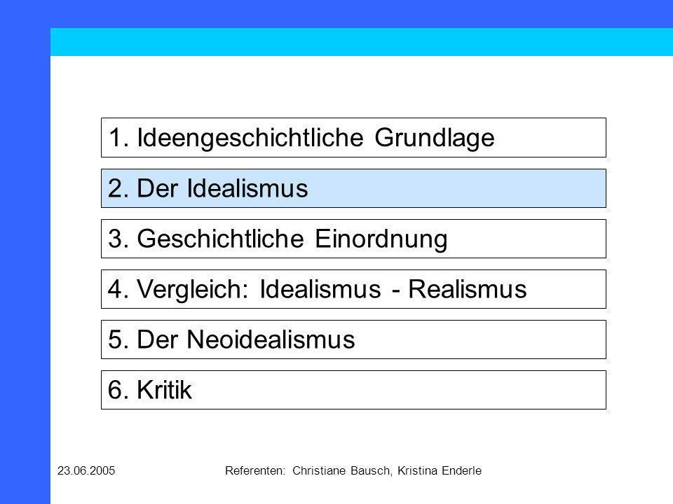 23.06.2005Referenten: Christiane Bausch, Kristina Enderle Grundannahmen des Idealismus Das internationale System ist anarchisch.