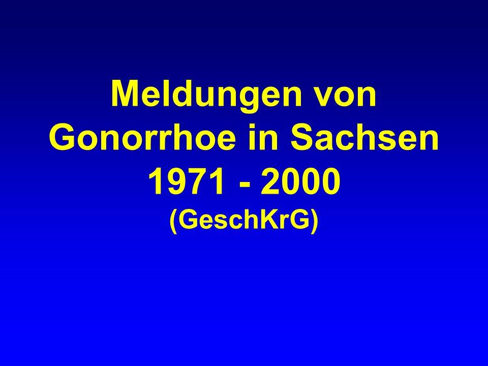 Gonorrhoe in Sachsen gemeldete Fälle nach Geschlecht, 1971-2000 1990: interpoliert