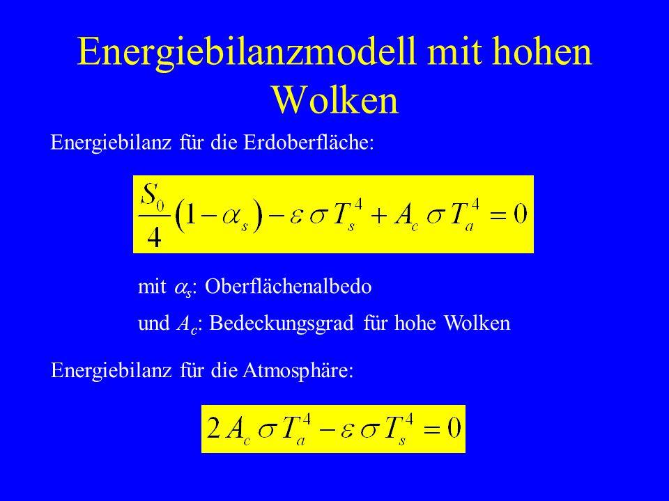 Energiebilanzmodell mit hohen Wolken Oberflächentemperatur: Atmosphärentemperatur: