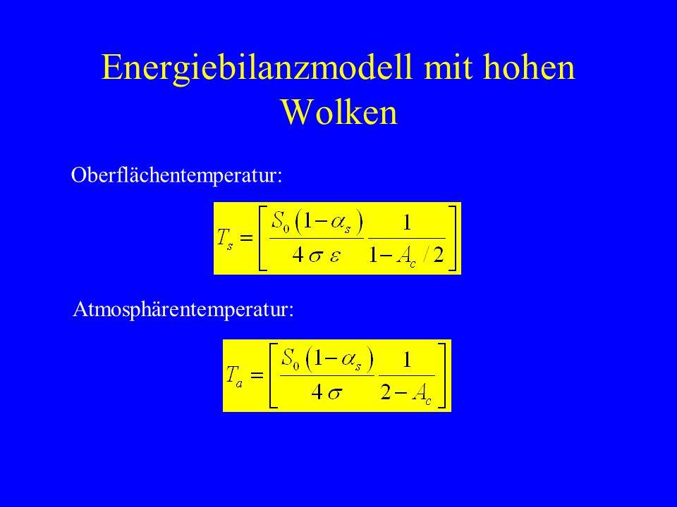 Energiebilanzmodell mit hohen Wolken Gleichgewichtstemperatur.